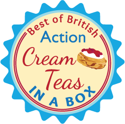 badge with cream teas on it