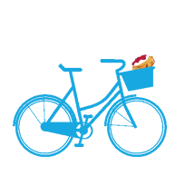 bike with scone in the front basket