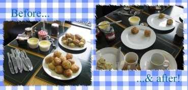 Plates with scones and cups of tea