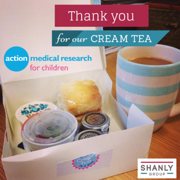 A thank you picture showing a box with scones and a striped mug filled with tea